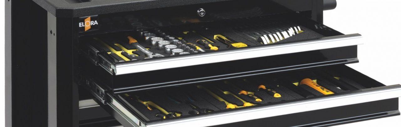 Tủ dụng cụ BUDDY khi có đồ nghề bên trong. ELORA Germany.