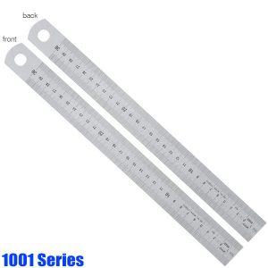 1001 Series Thước lá inox, mạ crôm, vạch chia mm trước sau