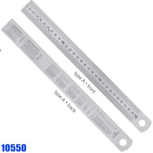 10550 Series Thước lá inox có bảng đổi đơn vị ở mặt lưng. Type A,B,C