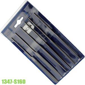 1347-S160 Bộ giũa kim gồm 6 món, lưỡi Trung, dài 160mm