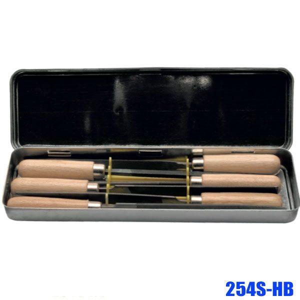 254S-HB Bộ giũa kim 6 món, cán gỗ dài 100mm, sx tại Đức
