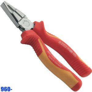 960- Kìm đầu bằng có răng cách điện đa năng từ 165-205mm. Sx tại Đức