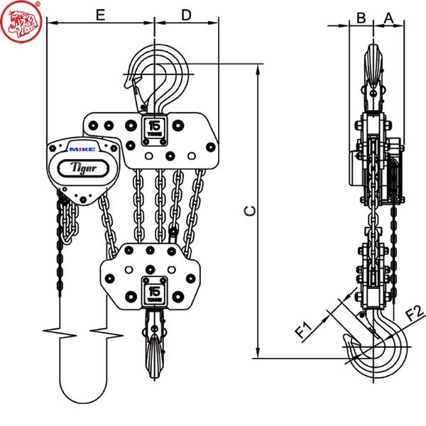 Palang xích kéo tay 15 tấn có 5 xích tải CB-1500