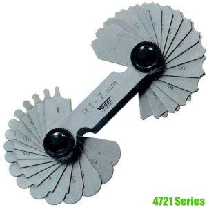 4721 Series Dưỡng đo đường kính 1,0-25mm, 15-17 lá bằng thép và inox