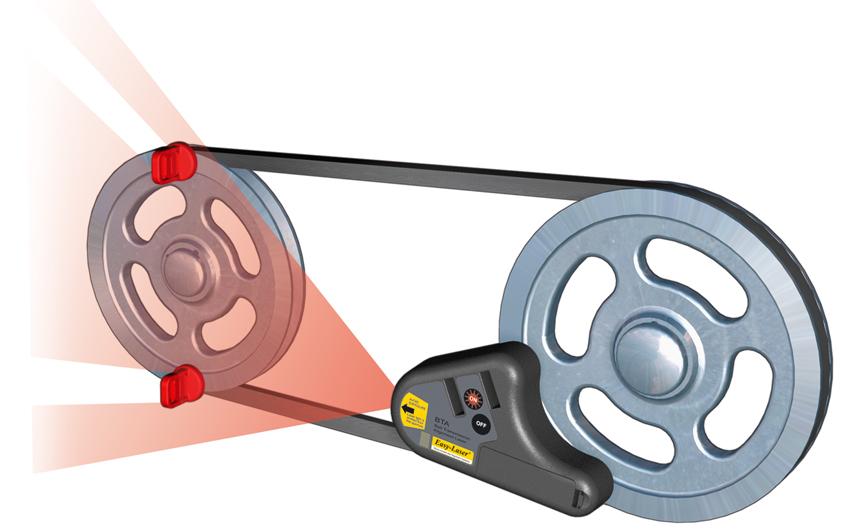 Chùm phát laser trên D90 cân chỉnh puli của Easylaser