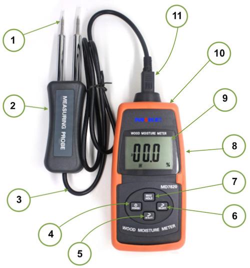 Các khối chức năng trên máy đo độ ẩm gỗ MD7820