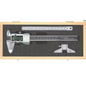 202091 Bộ thước cặp điện tử 150mm, thước lá inox, phụ kiện cầu đo sâu.