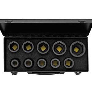 791S10 Series bộ tuýp đen 10 chi tiết hệ mét và inch, đầu vuông 3/4 inch