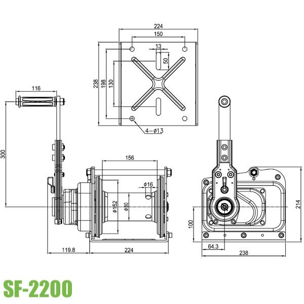 Bản vẽ kỹ thuật tời tay công nghiệp 2 tấn SF2200