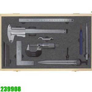 239908 bộ panme thước cặp, eke, compass, thước lá gồm 8 chi tiết