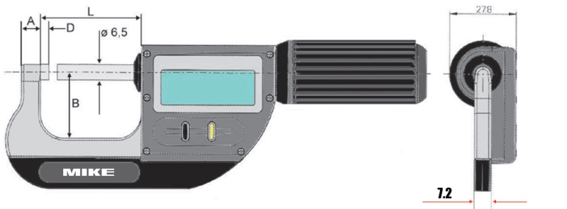 Bản vẽ kích thước dòng panme 23010 cấp IP67