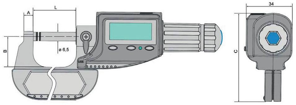 23123 bản vẽ kích thước panme điện tử cấp IP54 Vogel