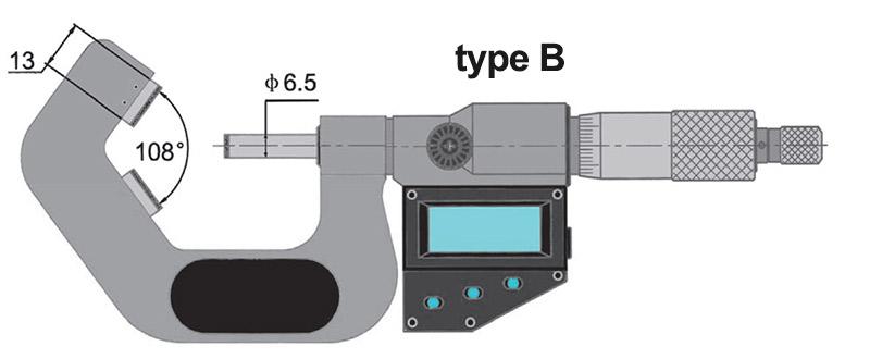 23218 bản vẽ kích thước type B panme điện tử đo ngoài ngàm chữ V Vogel