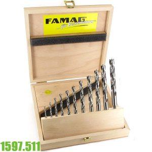 1597.511 Bộ mũi khoan gỗ 3-13mm, HSS-S. FAMAG Germany