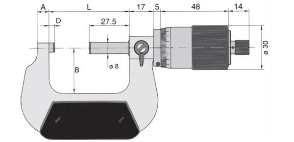 23035 Panme cơ đo ngoài, độ chính xác ±0.01mm