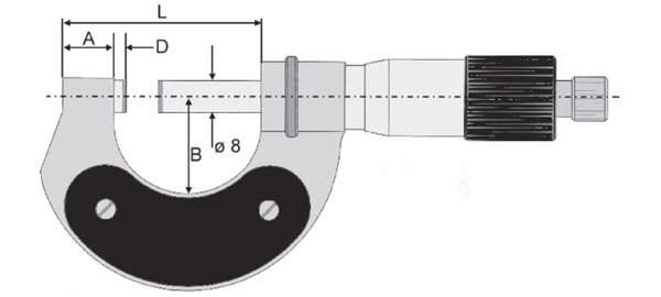 23058 Panme cơ đo ngoài, độ chính xác ±0.01mm