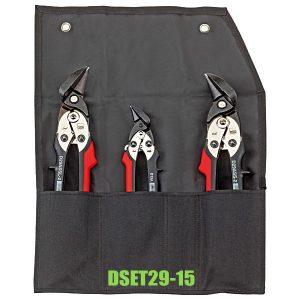 DSET29-15 Bộ kéo cắt tôn 3 cây bo hướng trái-phải, túi vải cuộn lại