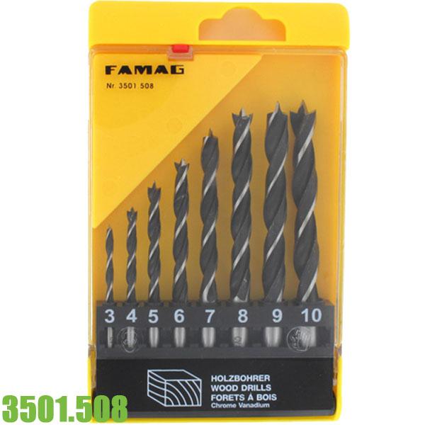 3501.508 Bộ mũi khoan gỗ mềm 8 cây Ø 3-10 mm FAMAG Germany