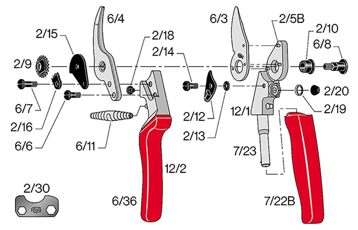 Phụ tùng thay thế kéo cắt cành felco 12