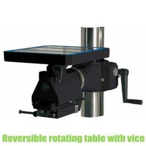 Reversible tables with clamp for column drilling machines
