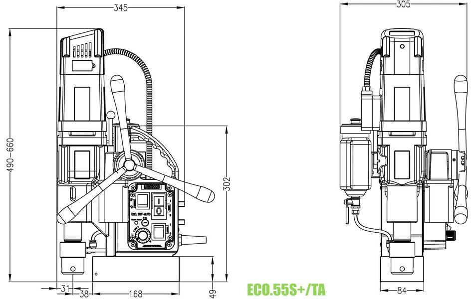 ECO.55 Máy khoan từ cỡ lớn khoan max Ø55mm, taro M3-M20