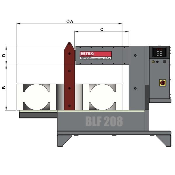 Bản vẽ kích thước máy gia nhiệt vòng bi BETEX BLF 208