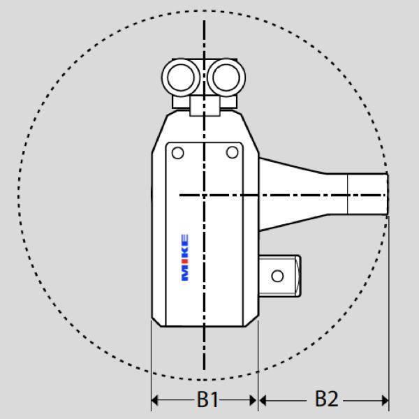 Hình chiếu cạnh của đầu xiết thủy lực AT - Alkitronic