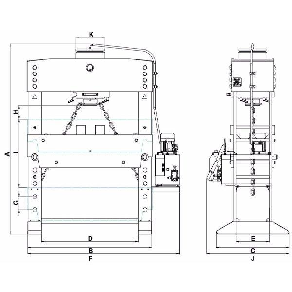 Bản vẽ kích thước máy ép thủy lực WSPE-series